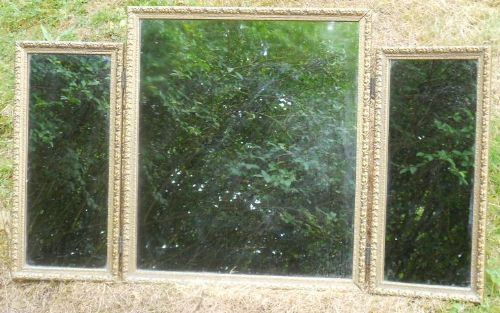 Triple Gilt Framed Standing Dressing Mirror